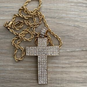Cross necklace bling iced out